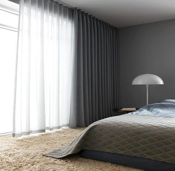 Tenda arricciata camera da letto